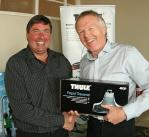 GT's Geoff Clarke (right) receives his award from Peter Barker, general manager, Thule UK