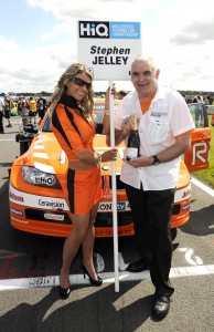 Lucky fan Barry Barney presents the prize at Snetterton last year