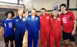 From left to right, Hairy Striker - James (Rocket) Long, Freddy Ash, Paul Merson, Matt Le Tissier, Mark Gibson and Hairy Striker - David Morgan