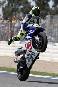 Valentino Rossi doing what he does best