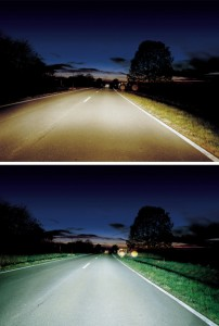 Light output difference between halogen (top) and xenon (bottom) headlights