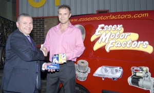 Denso's Colin Davies with Martyn Escritt from Essex Motor Factors