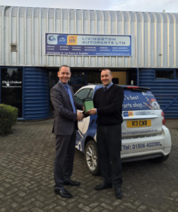 Shaftec's Chris Journet with Livingston Autopart's Tony Purves
