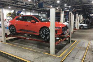 Jaguar EV at a specialised service garage