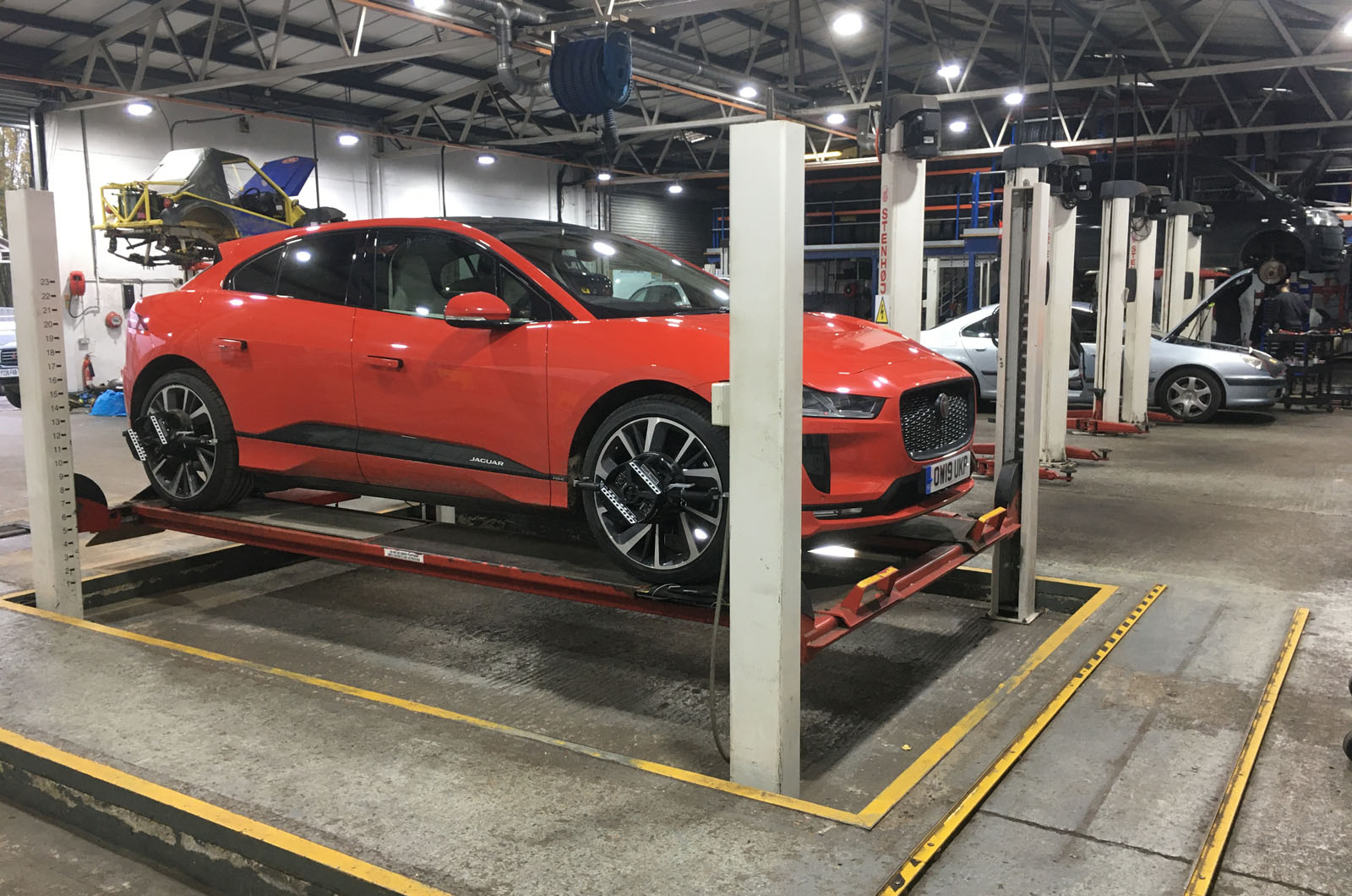 Jaguar EV at a specialised service garage